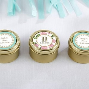 Personalized Tea Time Gold Round Candy Tins (Set of 12) image
