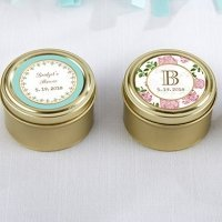 Personalized Tea Time Gold Round Candy Tins (Set of 12)