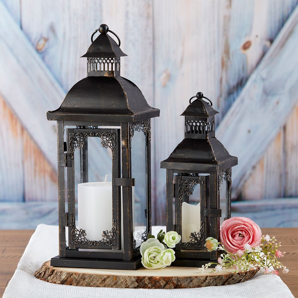 Antique Black Ornate Lantern - Small image