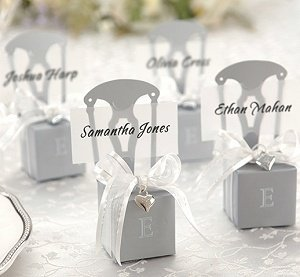 Monogrammed Silver Chair Favor Boxes (Set of 12) image