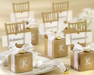 Monogrammed Gold Chair Favor Boxes (Set of 12) image