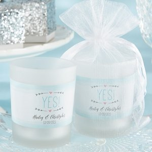 Personalized 'He Asked - She Said Yes' Frosted Glass Votives image