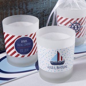 Personalized Nautical Birthday Frosted Glass Votives image