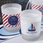 Personalized Nautical Birthday Frosted Glass Votives