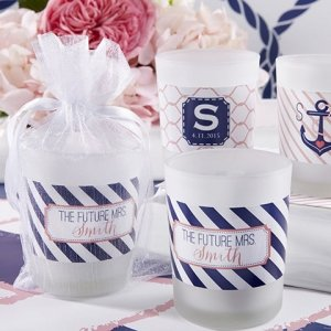Personalized Nautical Shower Frosted Glass Votives image