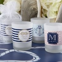 Nautical Themed Personalized Frosted Glass Votive Candles