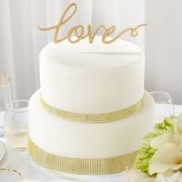 Love Gold Script Wedding Cake Topper