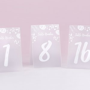 White Frosted Floral Tented Table Numbers (1-18) image