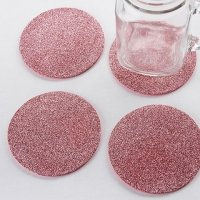 Pink Glitter Coasters (Set of 4)