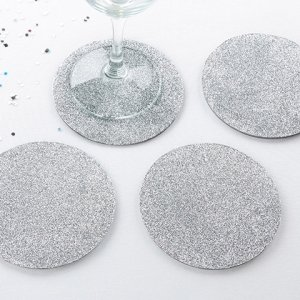 Silver Glitter Coasters (Set of 4) image