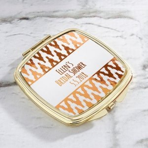 Personalized Copper Foil Gold Compact Mirror Favors image
