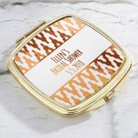 Personalized Copper Foil Gold Compact Mirror Favors