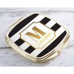 Personalized Classic Wedding Gold Compact Mirror Favors