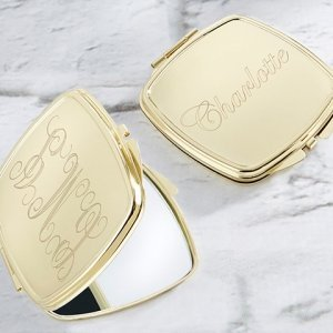 Personalized Engraved Gold Compact Mirror image