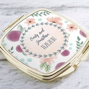 Personalized Bridal Floral Gold Compact Mirror Favors image
