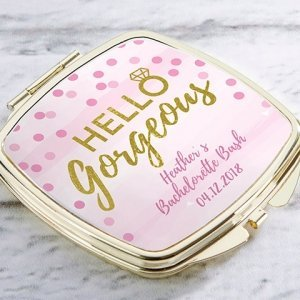 Personalized Hello Gorgeous Gold Compact Mirror Favors image