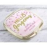 Personalized Hello Gorgeous Gold Compact Mirror Favors