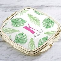 Personalized Pineapples and Palms Gold Compact Mirror Favors
