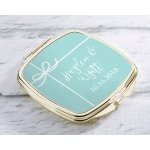 Personalized Something Blue Gold Compact Mirror Favors