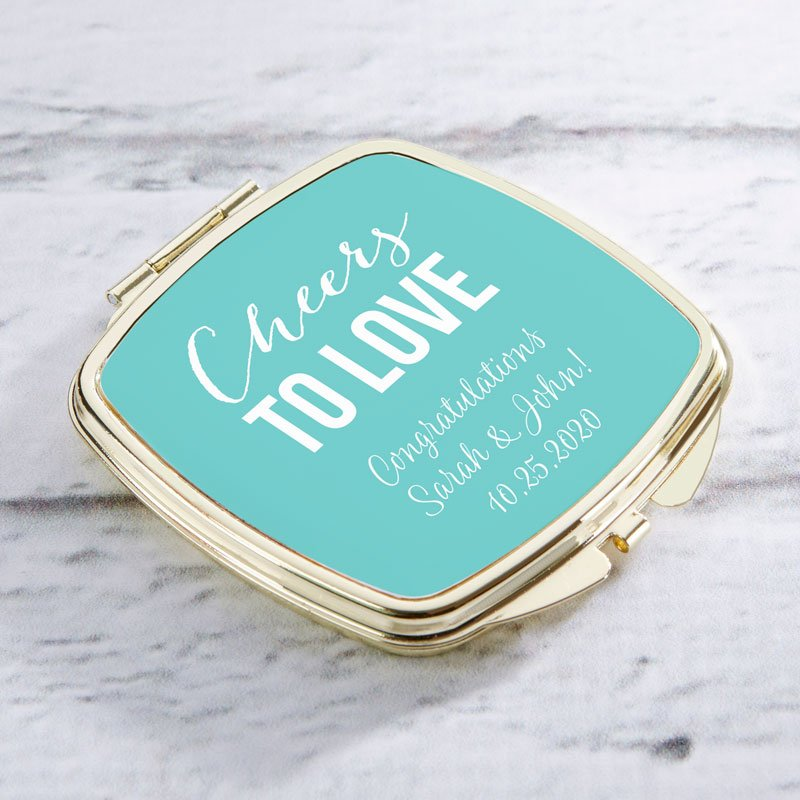 Personalized Gold Compact - Wedding image