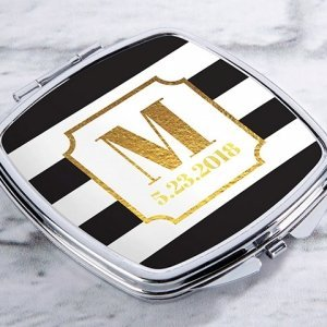 Personalized Classic Wedding Silver Compact Mirror Favors image