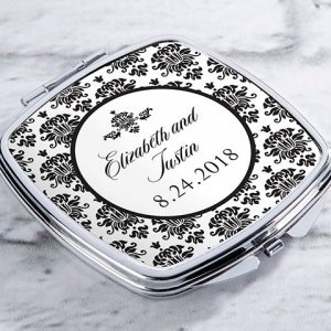 Personalized Damask Silver Compact Mirror Favors image