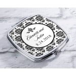 Personalized Damask Silver Compact Mirror Favors