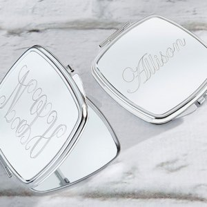 Personalized Engraved Silver Compact Mirror image