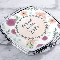 Personalized Bridal Floral Silver Compact Mirror Favors