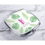 Personalized Pineapples & Palms Silver Compact Mirror Favors