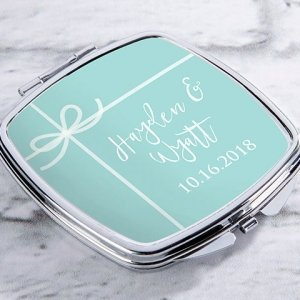 Personalized Something Blue Silver Compact Mirror Favors image