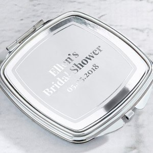 Personalized Silver Foil Silver Compact Mirror Favors image