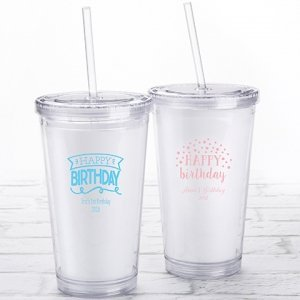 Personalized Happy Birthday Printed Acrylic Tumblers image