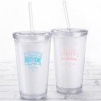 Personalized Happy Birthday Printed Acrylic Tumblers