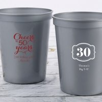Personalized Milestone Birthday Stadium Cup Favors
