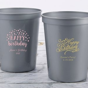 Personalized Happy Birthday Stadium Cup Favors image