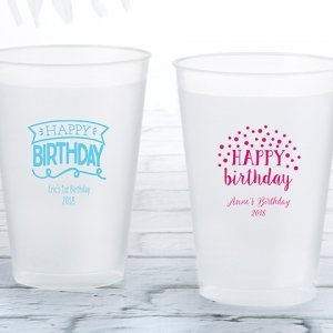 Personalized Happy Birthday Frosted Flex Cup Favors image