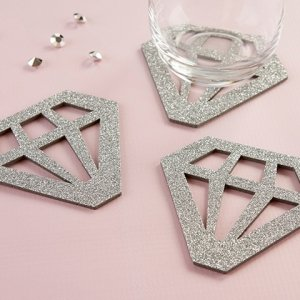Silver Glitter Diamond Shaped Coasters (Set of 4) image