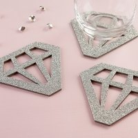 Silver Glitter Diamond Shaped Coasters (Set of 4)