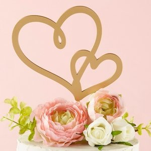 Gold Double Heart Cake Topper image
