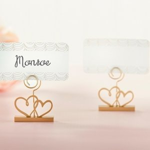 Gold Double Heart Place Card Holder (Set of 6) image