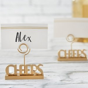 Cheers to You Gold Place Card Holder (Set of 6) image
