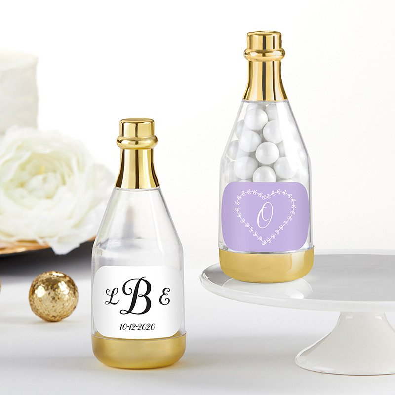 Personalized Monogram Gold Champagne Bottle Containers image