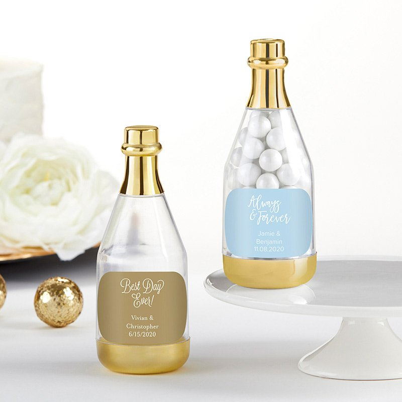 Personalized Wedding Gold Champagne Bottle Favor Containers image