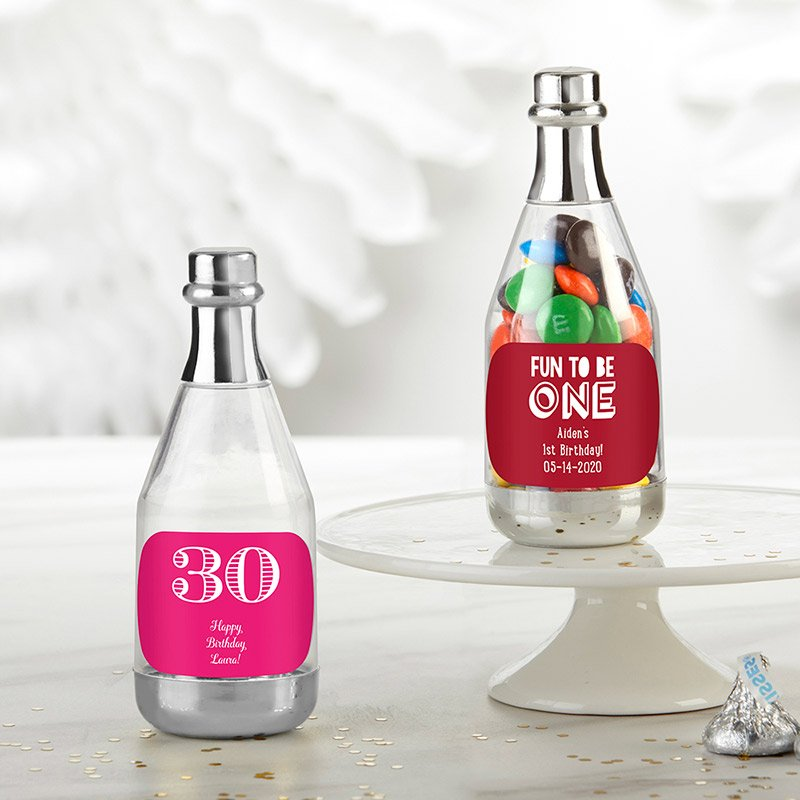 Personalized Birthday Silver Champagne Bottle Containers image