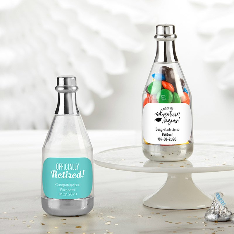 Personalized Celebration Silver Champagne Bottle Containers image