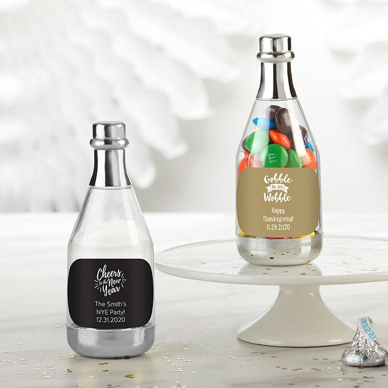 Personalized Silver Holiday Champagne Bottle Containers image