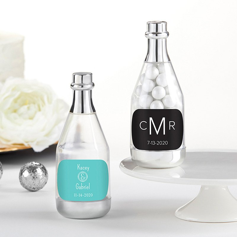 Personalized Monogram Silver Champagne Bottle Containers image