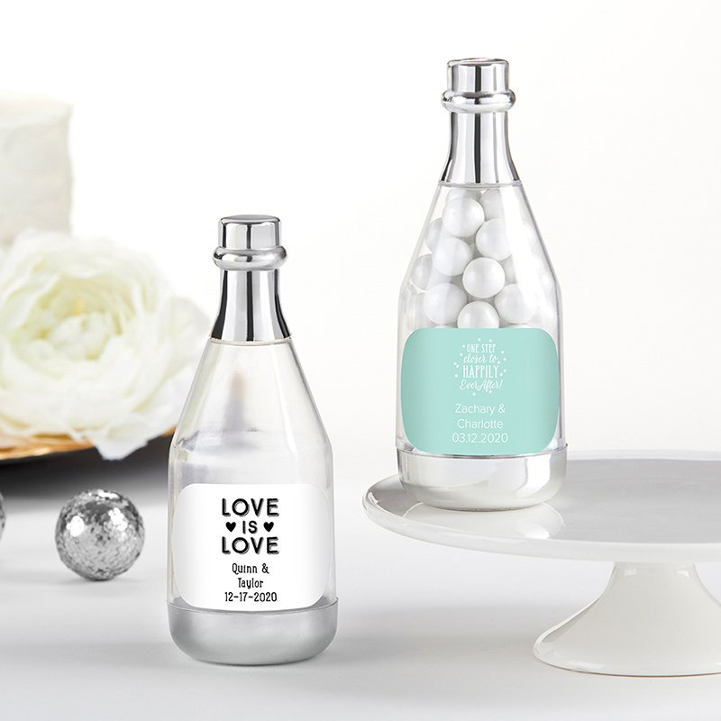 Personalized Wedding Silver Champagne Bottle Containers image