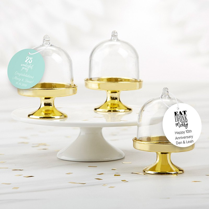 Personalized Anniversary Small Gold Base Bell Jar Set of 12 image
